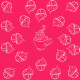 Pattern cups and cake. Pattern of contour cups and cakes Royalty Free Stock Photography