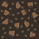 Pattern of cups of coffee and beans on striped background. Vector pattern of cups of coffee and beans on striped background Stock Photo