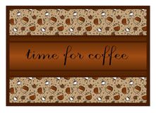 Pattern: cups of coffee and coffee accessories, coffee beans. Th Royalty Free Stock Photography
