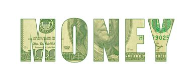 Pattern of currency in letters spelling MONEY. Word art representing money, cash, greenback, hundred dollar bill with Ben Franklin etching vector illustration