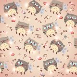 Pattern with cute abstract flying cats Stock Image