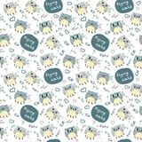 Pattern with cute abstract flying cats Royalty Free Stock Photography