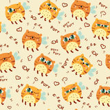 Pattern with cute abstract flying cats Royalty Free Stock Images