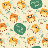 Pattern with cute abstract flying cats Royalty Free Stock Photos
