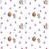 Pattern with cute animals and birds. Christmas seamless pattern with cute animals and birds. Childhood vector background in cartoon style stock illustration