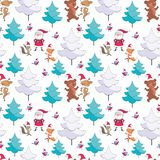 Pattern with cute animals and Santa. Christmas seamless pattern with Santa Claus, cute animals and fir trees. Childhood vector background in cartoon style royalty free illustration