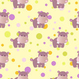 Pattern with cute baby behemoth and Circles Royalty Free Stock Image