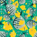 Pattern with cute big fish in green color Stock Photo