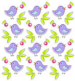 Pattern with cute birds Stock Photography