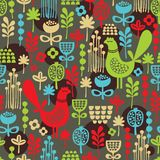 Pattern with cute birds and pretty flowers. Stock Photography