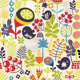 Pattern with cute birds and pretty flowers. Royalty Free Stock Photo