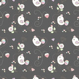 Pattern cute birds. And strawberry floral in pastel theme Stock Illustration