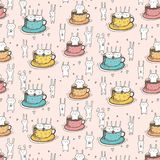 Pattern With Cute Bunnies In The Cup. Vector Illustration stock illustration