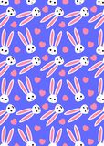 Pattern of Cute Cartoon Bunny Face and Pink Heart Design on violet. Background vector illustration