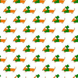 Pattern with cute cartoon dachshund in St Patricks day suit Stock Photos