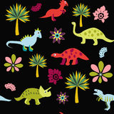 Pattern with Cute Cartoon Dinosaurs Royalty Free Stock Images
