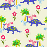 Pattern with Cute Cartoon Dinosaurs Royalty Free Stock Photos