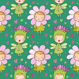 Pattern with Cute cartoon flower fairies. Forest gnomes. Fairytale creatures. Funny kids