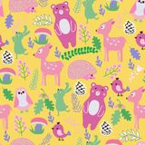Pattern with cute cartoon forest animals baby shower background. Seamless pattern with cute cartoon forest animals baby shower background. Vector illustration Royalty Free Stock Photo
