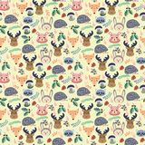Pattern with cute cartoon forest animals. On beige background for children with cute animals vector illustration