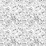 Pattern of cute cartoon hand-draw cactus Royalty Free Stock Photo