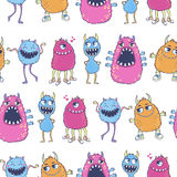 Pattern with cute cartoon monsters. Seamless vector pattern with cute cartoon monsters. Useful for packaging, wrapping paper, wallpaper, fabric, fashion, home Royalty Free Stock Photo