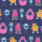 Pattern with cute cartoon monsters. Seamless vector pattern with cute cartoon monsters. Useful for packaging, wrapping paper, wallpaper, fabric, fashion, home Stock Photo