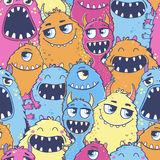 Pattern with cute cartoon monsters. Stock Photos