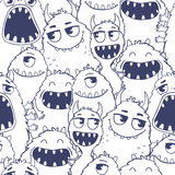 Pattern with cute cartoon monsters. Stock Image