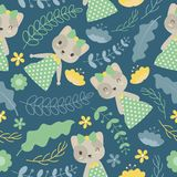 Pattern with cute cat and flowers on blue dark background vector cartoon. Seamless pattern with cute cat and flowers on blue dark background vector cartoon Royalty Free Stock Image