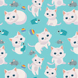 Pattern with cute cats. Pattern with cute cats on blue background Royalty Free Stock Image