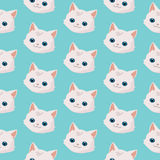 Pattern with cute cats. Pattern with cute cats on blue background.n Stock Photo