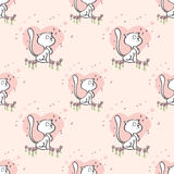 Pattern cute cats heart flowers Stock Photo