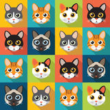 Pattern of cute cats Stock Photo
