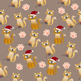 Pattern with cute cats. Very high quality original trendy vector seamless pattern with cute cats and paws Stock Photography