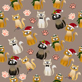 Pattern with cute cats. Very high quality original trendy vector seamless pattern with cute cats and paws Royalty Free Stock Photos