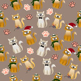 Pattern with cute cats. Very high quality original trendy vector seamless pattern with cute cats and paws Royalty Free Stock Image