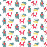 Pattern with cute Chtistmas animals Royalty Free Stock Image