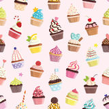 Pattern with cute colorful cupcake. Royalty Free Stock Image