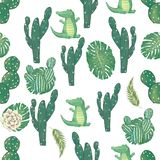 Pattern with cute Croc Dandy and cactus Watercolor animal. Cute baby greeting card. Boho flowers and floral bouquets Happy. Happy birthday card with cute Croc royalty free illustration