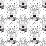 Pattern with cute deer.Vector illustration in doodle style. vector illustration