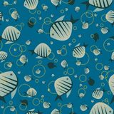 Pattern with cute fish in blue color Stock Photography