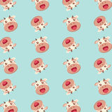 Pattern with cute flat style cows. Vector seamless pattern with cute flat style cows isolated on soft blue background Royalty Free Stock Photo