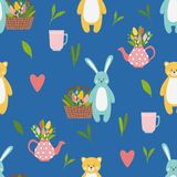 Pattern with cute funny blue hare and yellow bear animals stock illustration