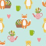 Pattern with cute funny orange fox and yellow bear animals vector illustration