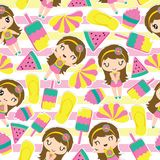 Pattern of cute girl and summer elements on striped background. Seamless pattern of cute girl and summer elements on striped background vector cartoon Royalty Free Stock Image
