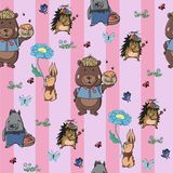 A pattern of cute little animals in clothes. vector illustration