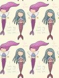 Pattern with cute little mermaid. Siren. Sea theme. Stock Image