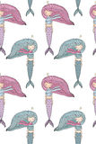 Pattern with cute little mermaid. Siren. Sea theme. Royalty Free Stock Photography