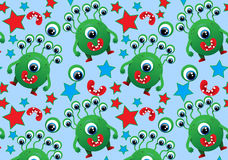 The pattern of cute monsters, monsters, eyes, mouth, star Stock Images